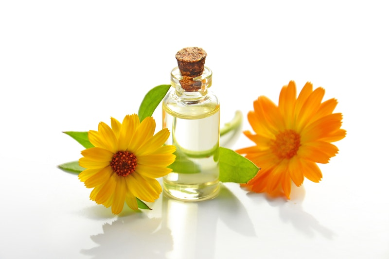 eco-friendly oil and flowers